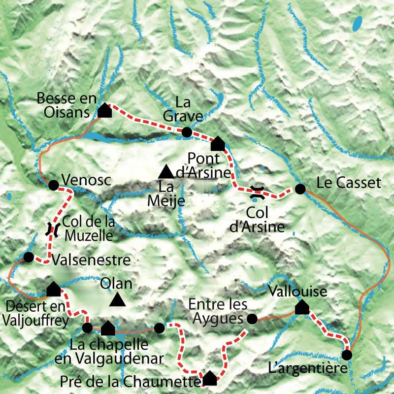 Carte Tour du Parc National des Ecrins
