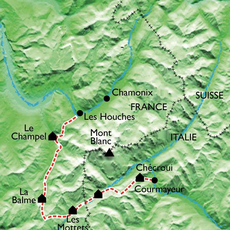 Itinéraire Le Tour du Mont blanc Sud, en famille avec des ânes de St Gervais à Courmayeur.