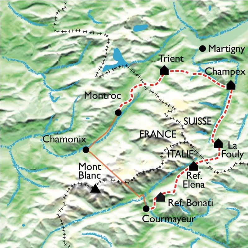 Itinéraire Le Tour du Mont Blanc Nord, en famille avec des ânes de Courmayeur à Montroc.
