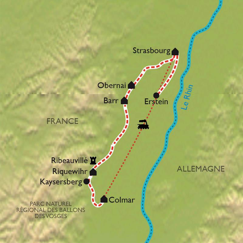 Carte Alsace A Velo.Route Des Vins D Alsace A Velo