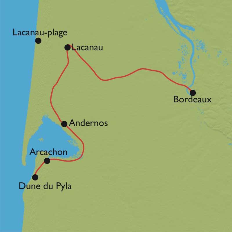 Carte Bordeaux Arcachon.Bordeaux Arcachon Des Vignes Du Medoc A L Ocean