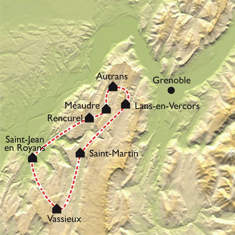 Carte Le Grand Tour du Vercors VTT