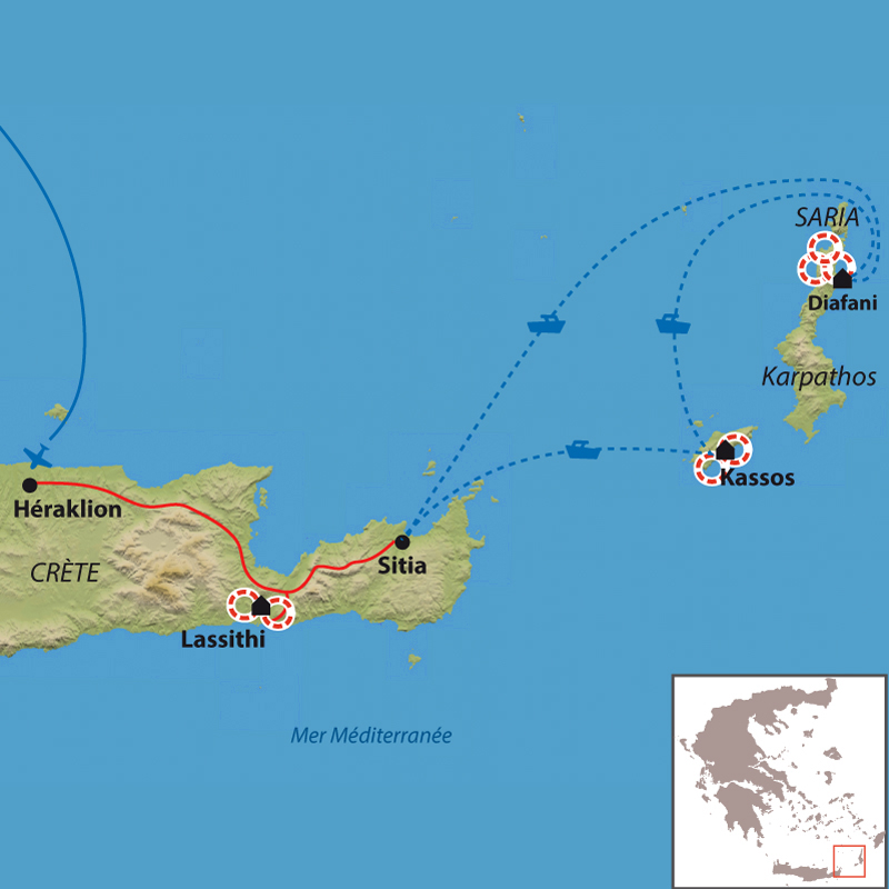 Carte Karpathos, l'île aux traditions vivantes