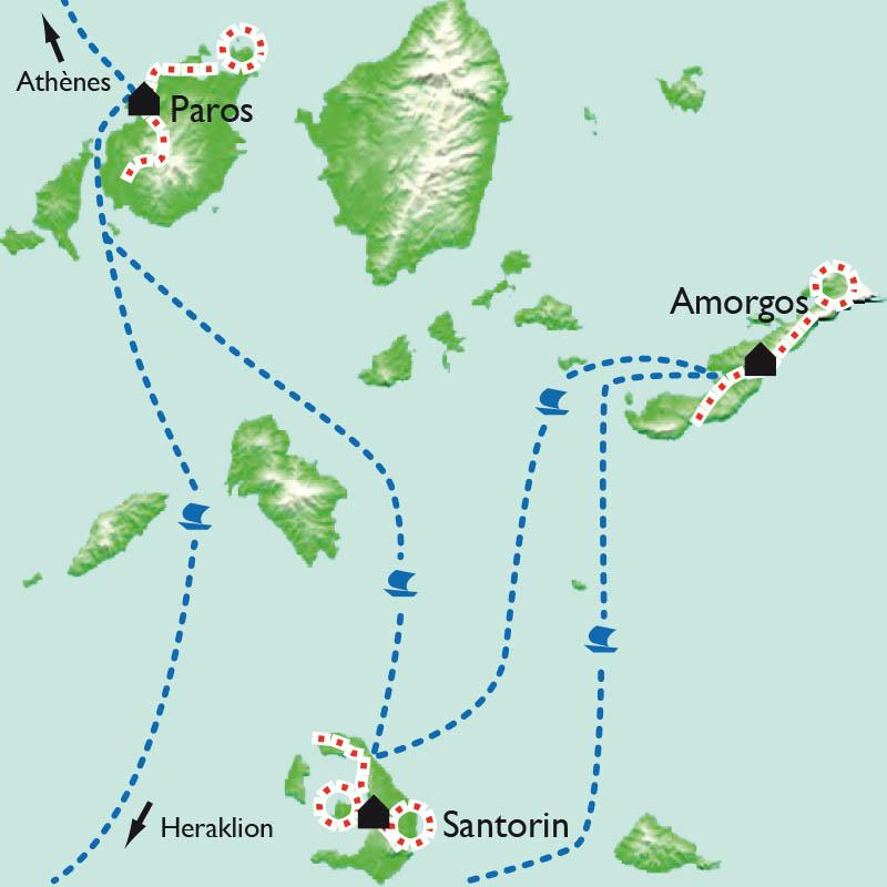 Itinéraire Les Cyclades - Paros, Amorgos, Santorin