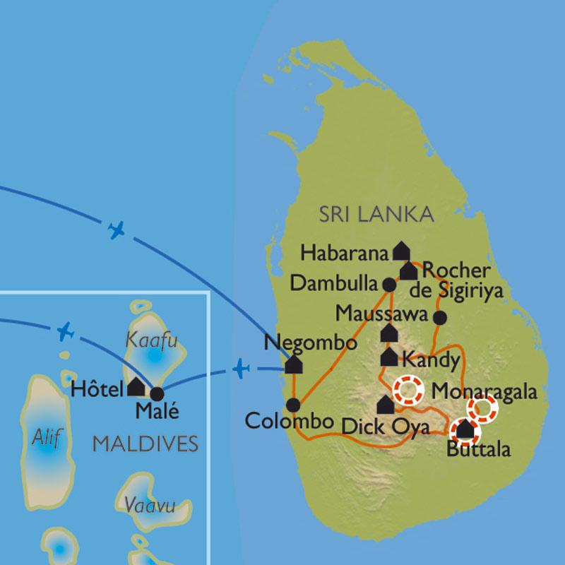 Carte Sri Lanka Maldives.Randonnee Sri Lanka Maldives