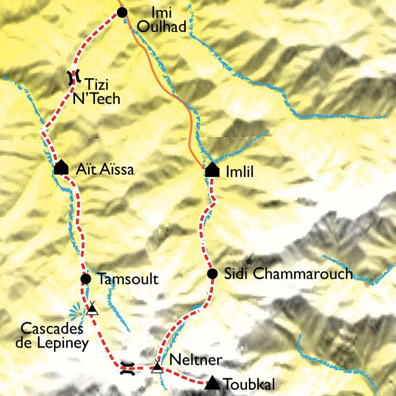 Carte Randonnée et ascension du Toubkal