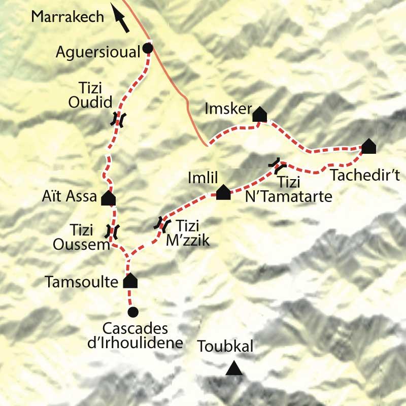 Itinéraire Au pays du Toubkal au rythme des Tazerdounes