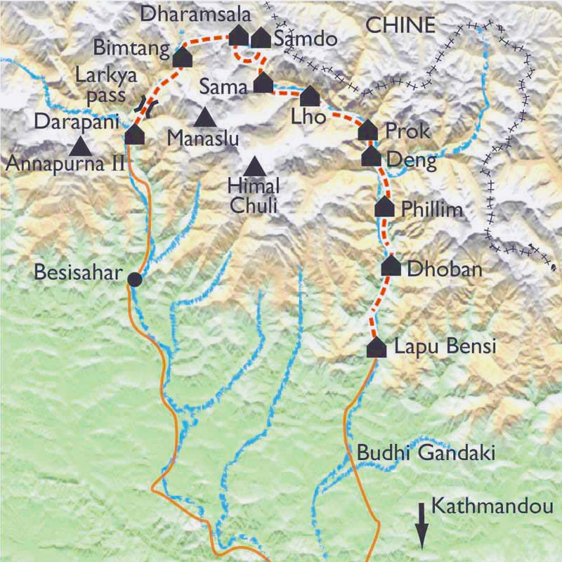 Carte Tour du Manaslu