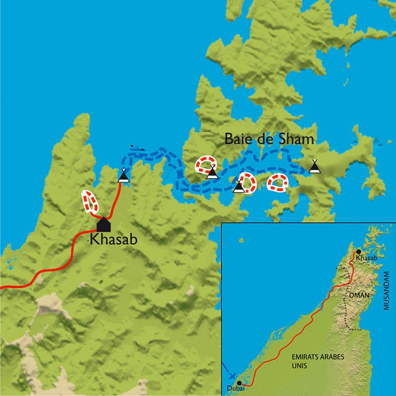 Itinéraire Kayak à Musandam