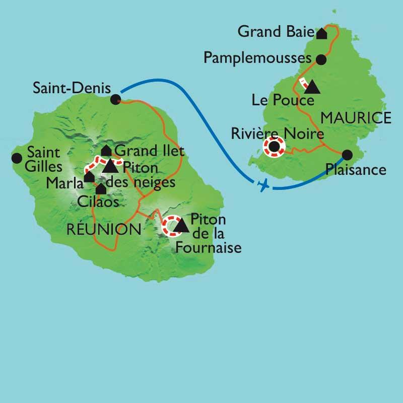 Carte Reunion Maurice.Iles De L Ocean Indien