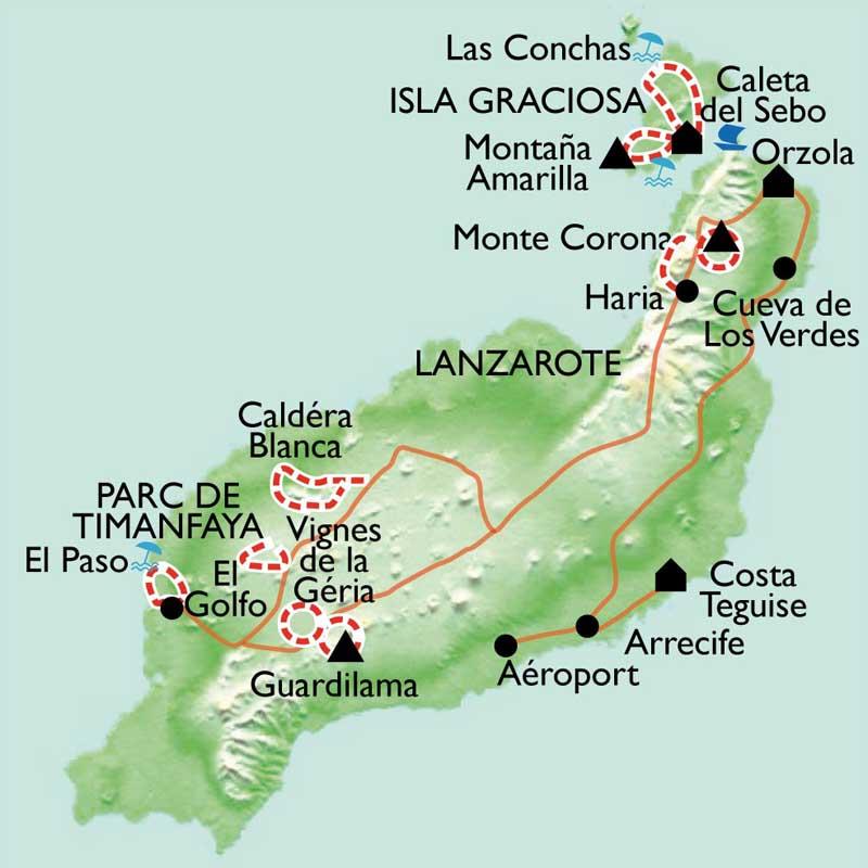 Carte Lanzarote.Lanzarote Des Volcans Sur L Ocean