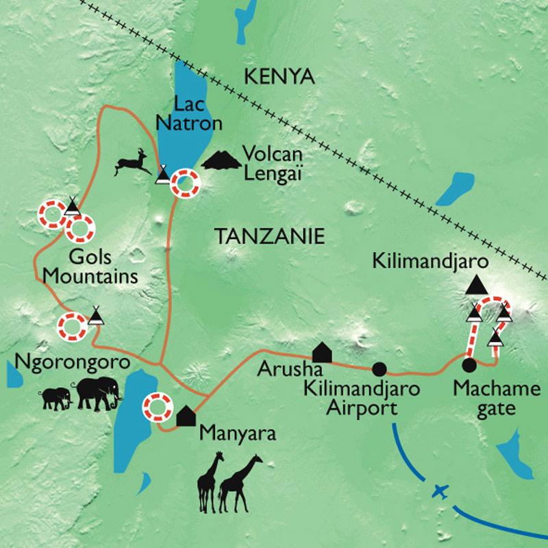 Itinéraire Du Kilimandjaro aux grands parcs du pays Masaï