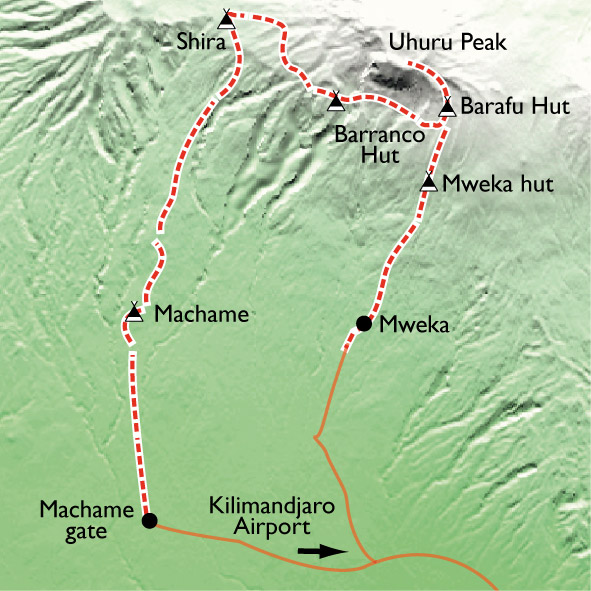 Carte Ascension du Kilimandjaro.